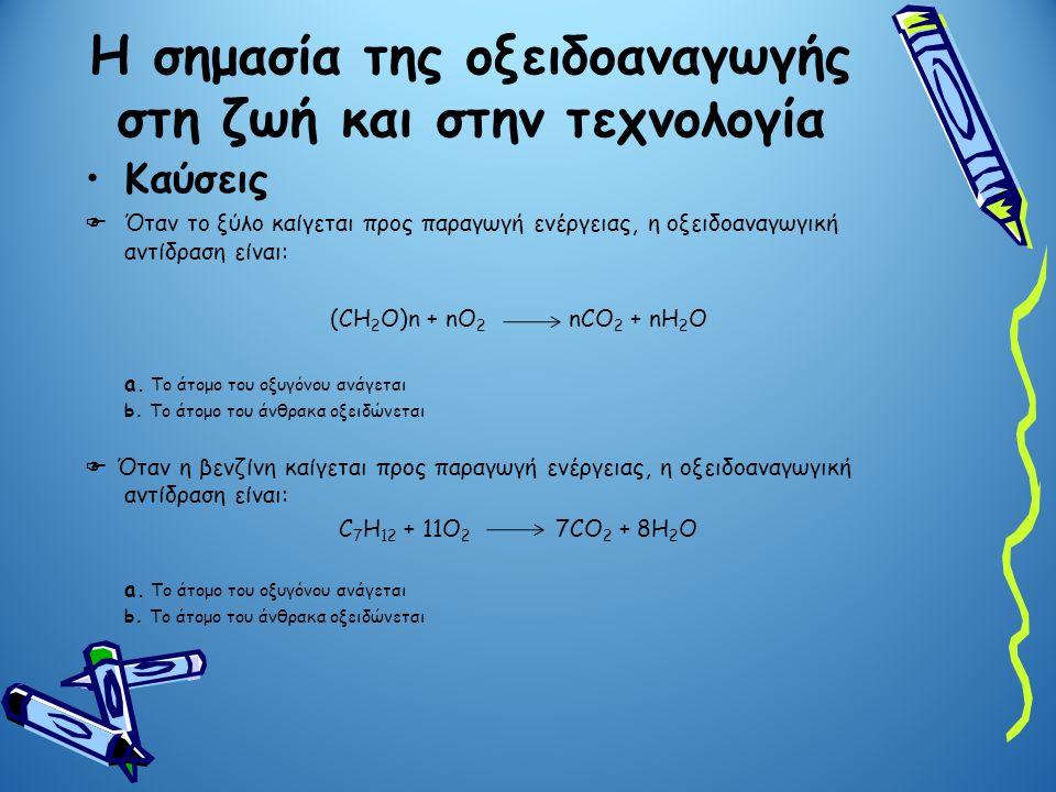 Καύσεις  Όταν το ξύλο καίγεται προς παραγωγή ενέργειας, η οξειδοαναγωγική αντίδραση είναι: (CH 2 O)n + nO 2 nCO 2 + nH 2 O a. Το άτομο του οξυγόνου α
