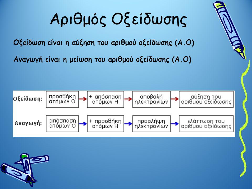 Αριθμός Οξείδωσης Οξείδωση είναι η αύξηση του αριθμού οξείδωσης (Α.Ο) Αναγωγή είναι η μείωση του αριθμού οξείδωσης (Α.Ο)