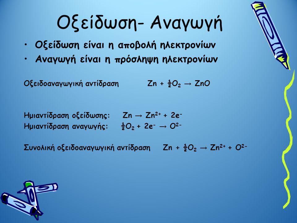 Οξείδωση- Αναγωγή Οξείδωση είναι η αποβολή ηλεκτρονίων Αναγωγή είναι η πρόσληψη ηλεκτρονίων Οξειδοαναγωγική αντίδραση Zn + ½O 2 → ZnO Ημιαντίδραση οξε
