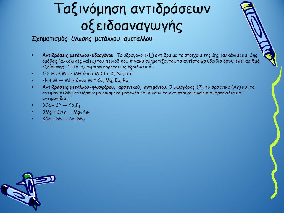 Ταξινόμηση αντιδράσεων οξειδοαναγωγής Σχηματισμός ένωσης μετάλλου-αμετάλλου Αντιδράσεις μετάλλου-υδρογόνου. Το υδρογόνο (Η 2 ) αντιδρά με τα στοιχεία