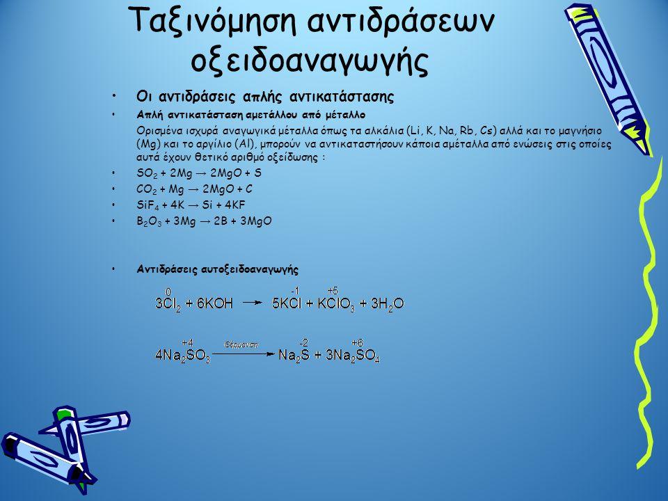Ταξινόμηση αντιδράσεων οξειδοαναγωγής Οι αντιδράσεις απλής αντικατάστασης Απλή αντικατάσταση αμετάλλου από μέταλλο Ορισμένα ισχυρά αναγωγικά μέταλλα ό