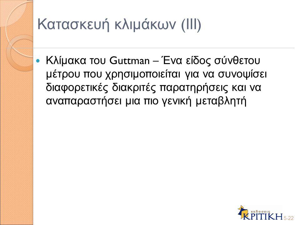 Κλίμακα του Guttman – Ένα είδος σύνθετου μέτρου π ου χρησιμο π οιείται για να συνοψίσει διαφορετικές διακριτές π αρατηρήσεις και να ανα π αραστήσει μι