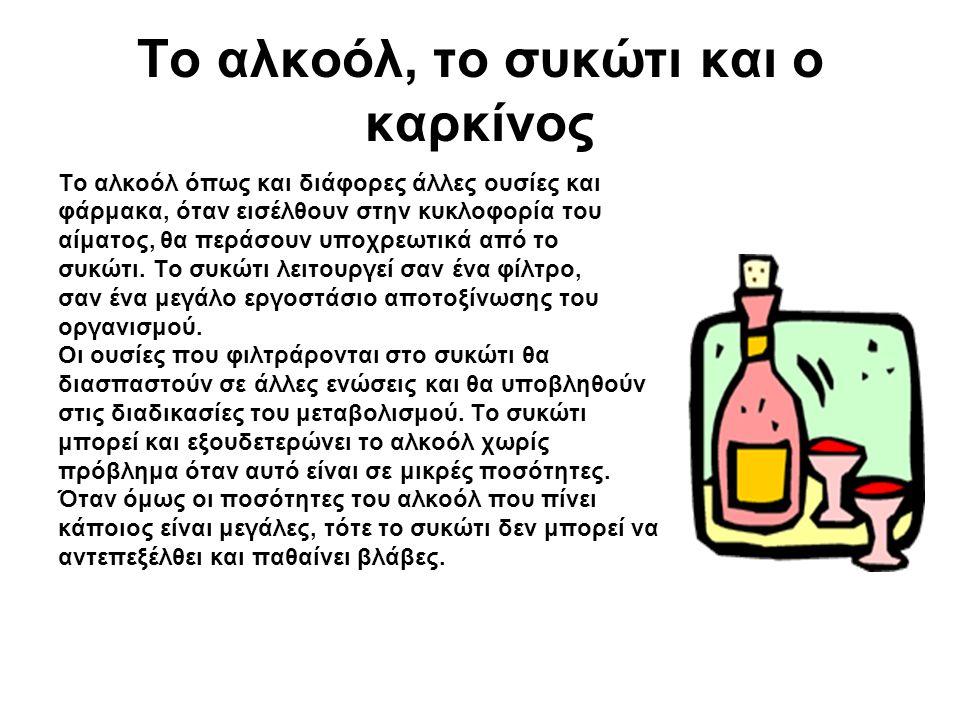 Το αλκοόλ, το συκώτι και ο καρκίνος Το αλκοόλ όπως και διάφορες άλλες ουσίες και φάρμακα, όταν εισέλθουν στην κυκλοφορία του αίματος, θα περάσουν υποχρεωτικά από το συκώτι.