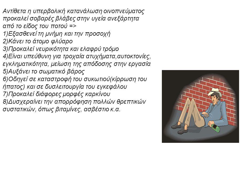 Αντίθετα η υπερβολική κατανάλωση οινοπνεύματος προκαλεί σοβαρές βλάβες στην υγεία ανεξάρτητα από το είδος του ποτού => 1)Εξασθενεί τη μνήμη και την προσοχή 2)Κάνει το άτομο φλύαρο 3)Προκαλεί νευρικότητα και ελαφρύ τρόμο 4)Eίναι υπεύθυνη για τροχαία ατυχήματα,αυτοκτονίες, εγκληματικότητα, μείωση της απόδοσης στην εργασία 5)Αυξάνει το σωματικό βάρος 6)Οδηγεί σε καταστροφή του συκωτιού(κίρρωση του ήπατος) και σε δυσλειτουργία του εγκεφάλου 7)Προκαλεί διάφορες μορφές καρκίνου 8)Δυσχεραίνει την απορρόφηση πολλών θρεπτικών συστατικών, όπως βιταμίνες, ασβέστιο κ.α.