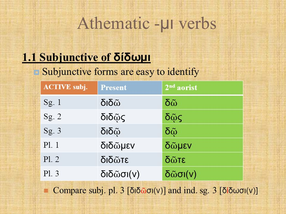 Athematic - μι verbs MIDDLE subj.Present2 nd aorist Sg.