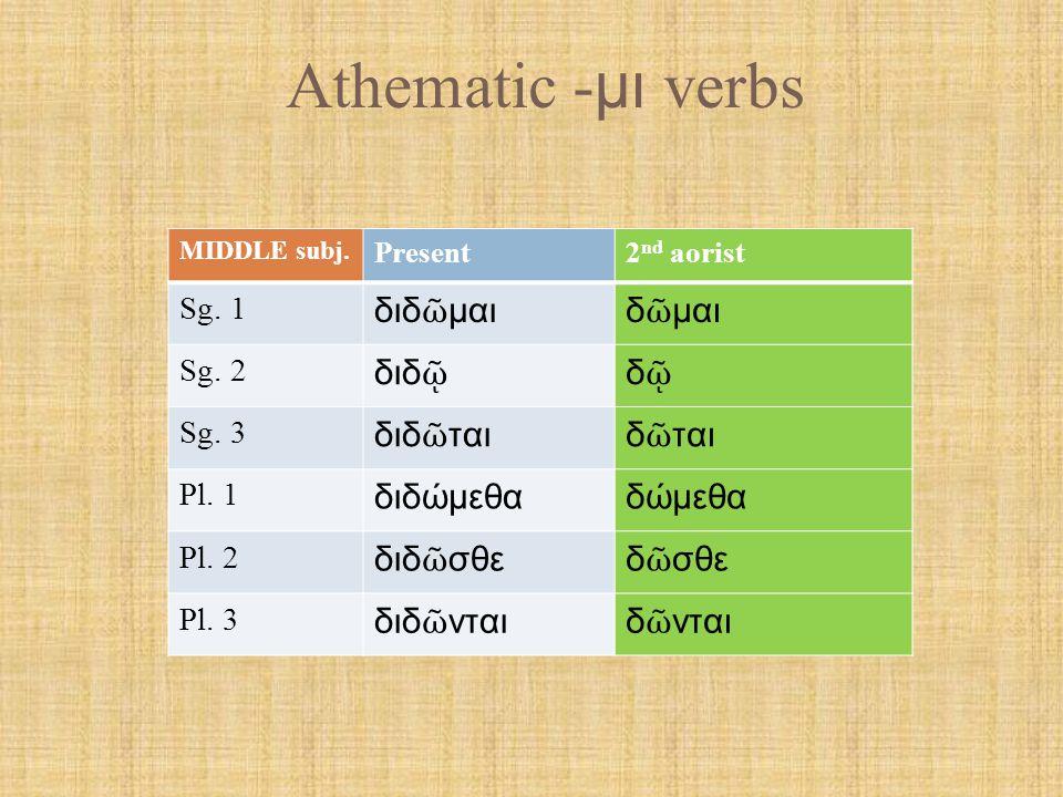 Athematic - μι verbs PASS.subj. Present2 nd aorist Sg.