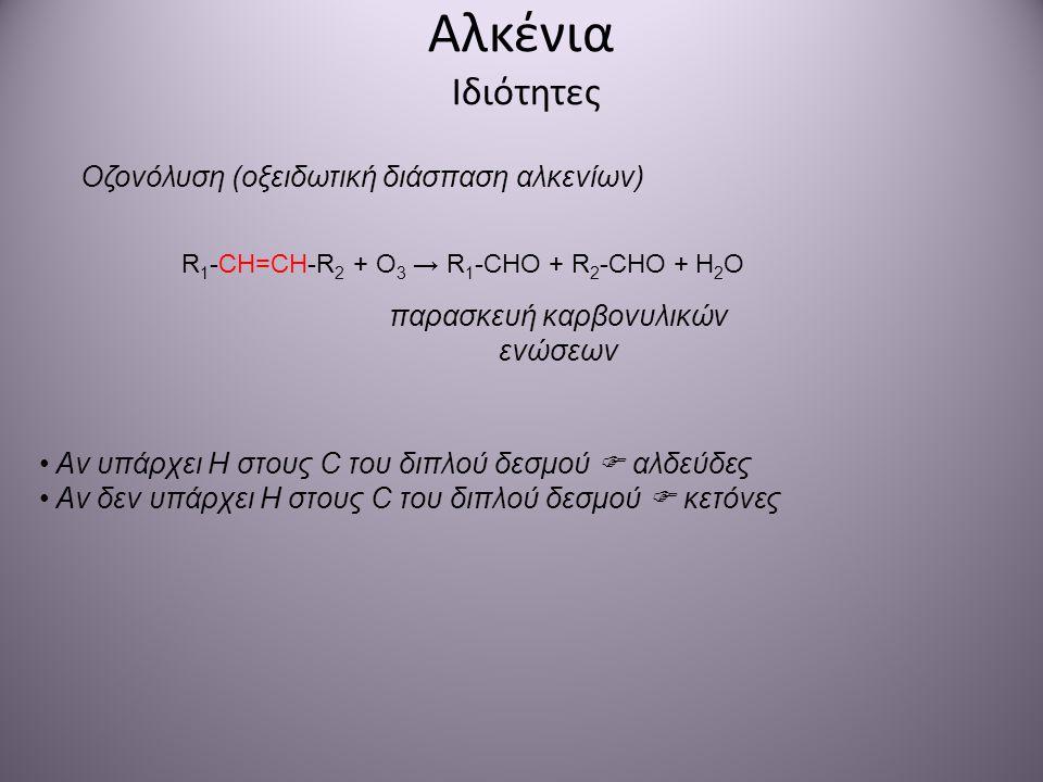 Αλκένια Ιδιότητες Οζονόλυση (οξειδωτική διάσπαση αλκενίων) R 1 -CH=CH-R 2 + O 3 → R 1 -CHO + R 2 -CHO + H 2 O παρασκευή καρβονυλικών ενώσεων Αν υπάρχε