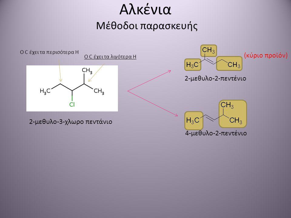 Αλκένια Μέθοδοι παρασκευής 2-μεθυλο-3-χλωρο πεντάνιο 2-μεθυλο-2-πεντένιο 4-μεθυλο-2-πεντένιο (κύριο προϊόν) Ο C έχει τα λιγότερα Η Ο C έχει τα περισότ