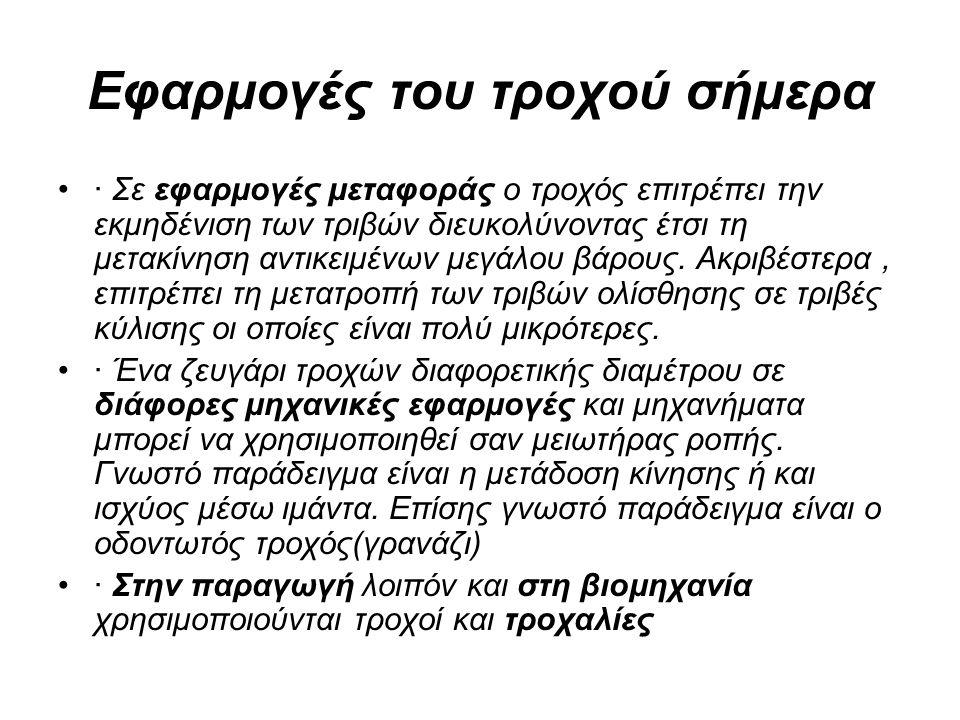 Η ΧΡΗΣΗ ΤΟΥ ΤΡΟΧΟΥ ΣΤΟΝ 21ο ΑΙΩΝΑ Μαθητής: Γιάννης Παπαδόπουλος Υπεύθυνη καθηγήτρια: Καραψιά Βαρβάρα Γενικό Λύκειο Αλμυρού Αλμυρός, 2013-2014