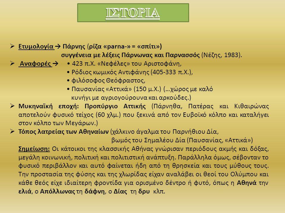  Ετυμολογία → Πάρνης (ρίζα «parna-» = «σπίτι») συγγένεια με λέξεις Πάρνωνας και Παρνασσός (Νέζης, 1983).  Αναφορές → 423 π.Χ. «Νεφέλες» του Αριστοφά