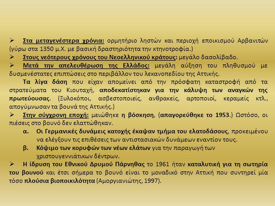  Στα μεταγενέστερα χρόνια: ορμητήριο ληστών και περιοχή εποικισμού Αρβανιτών (γύρω στα 1350 μ.Χ. με βασική δραστηριότητα την κτηνοτροφία.)  Στους νε