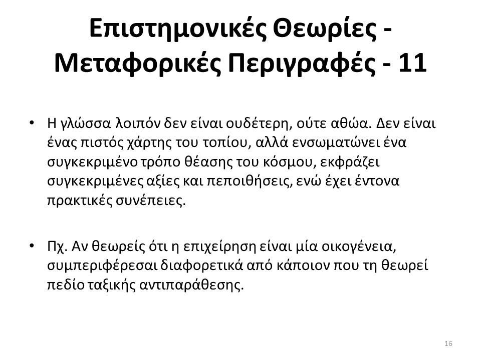 Επιστημονικές Θεωρίες - Μεταφορικές Περιγραφές - 11 Η γλώσσα λοιπόν δεν είναι ουδέτερη, ούτε αθώα. Δεν είναι ένας πιστός χάρτης του τοπίου, αλλά ενσωμ