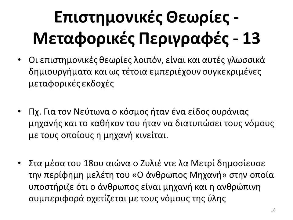 Επιστημονικές Θεωρίες - Μεταφορικές Περιγραφές - 13 Οι επιστημονικές θεωρίες λοιπόν, είναι και αυτές γλωσσικά δημιουργήματα και ως τέτοια εμπεριέχουν