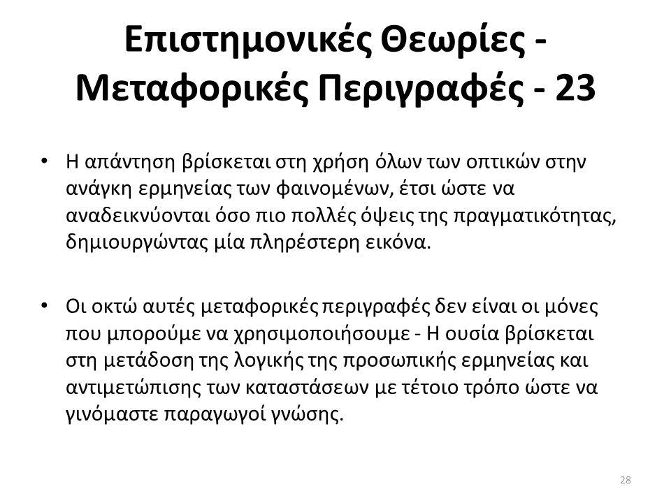 Επιστημονικές Θεωρίες - Μεταφορικές Περιγραφές - 23 Η απάντηση βρίσκεται στη χρήση όλων των οπτικών στην ανάγκη ερμηνείας των φαινομένων, έτσι ώστε να