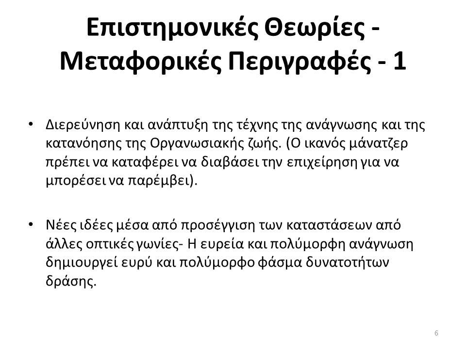 Επιστημονικές Θεωρίες - Μεταφορικές Περιγραφές - 1 Διερεύνηση και ανάπτυξη της τέχνης της ανάγνωσης και της κατανόησης της Οργανωσιακής ζωής. (Ο ικανό