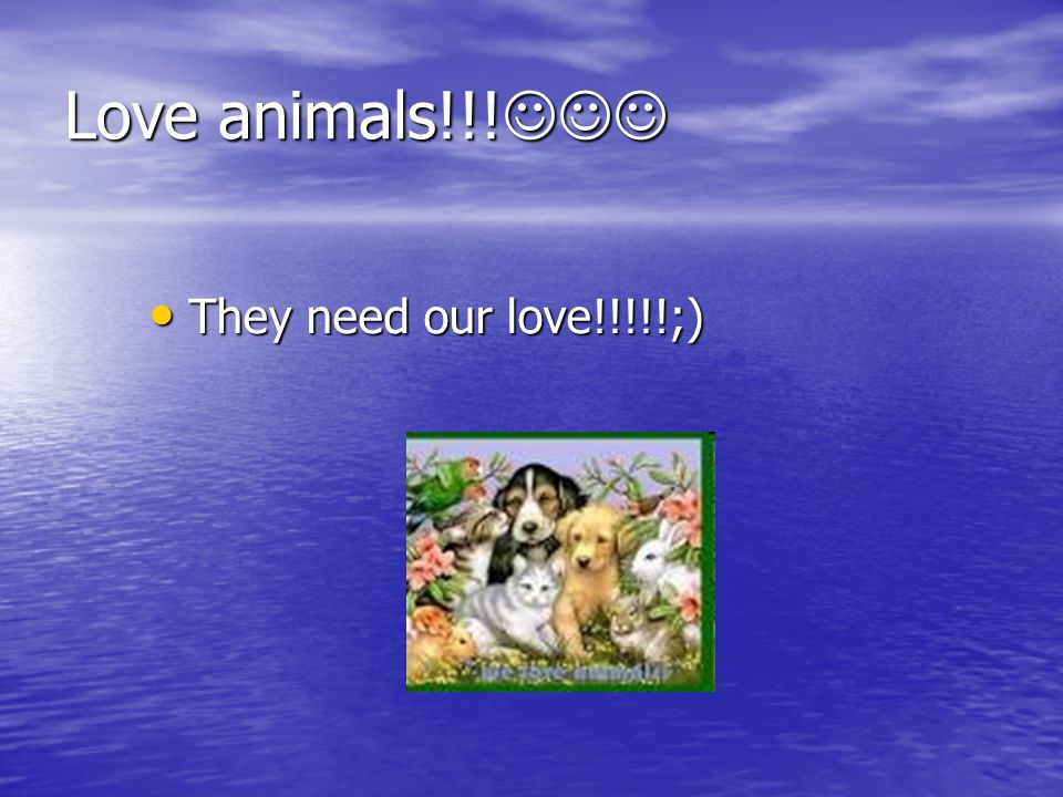 Love animals!!! Love animals!!! They need our love!!!!!;) They need our love!!!!!;)