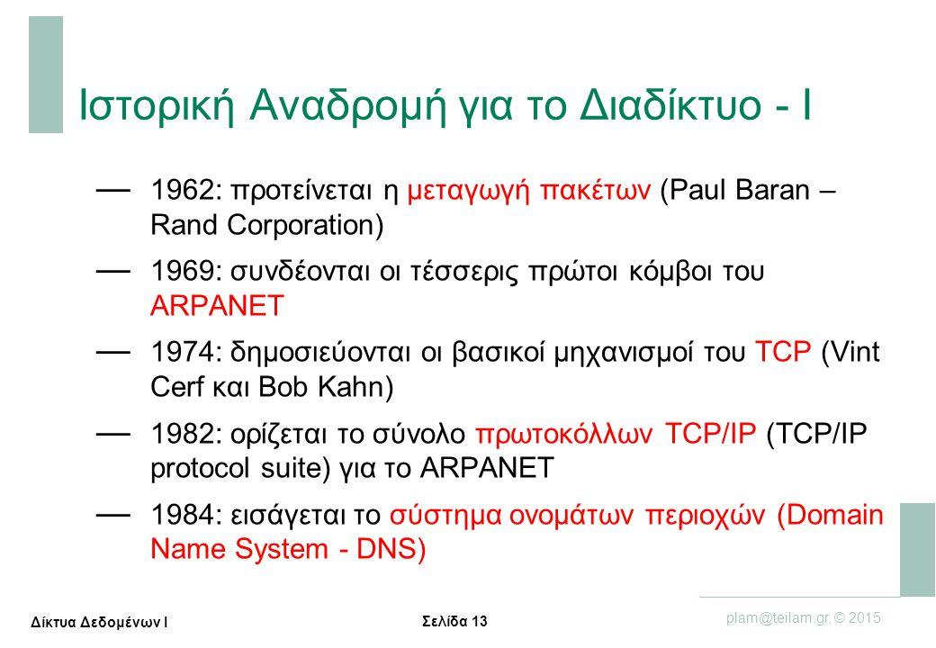 Σελίδα 13 plam@teilam.gr, © 2015 Δίκτυα Δεδομένων Ι Ιστορική Αναδρομή για το Διαδίκτυο - Ι — 1962: προτείνεται η μεταγωγή πακέτων (Paul Baran – Rand C