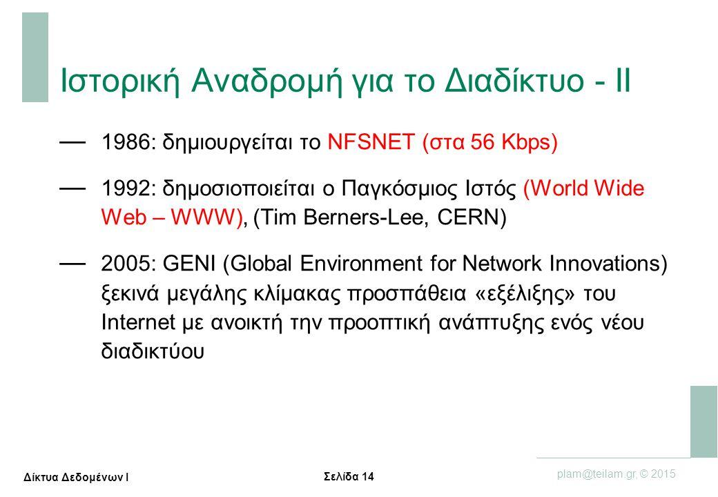 Σελίδα 14 plam@teilam.gr, © 2015 Δίκτυα Δεδομένων Ι Ιστορική Αναδρομή για το Διαδίκτυο - ΙΙ — 1986: δημιουργείται το NFSNET (στα 56 Κbps) — 1992: δημο