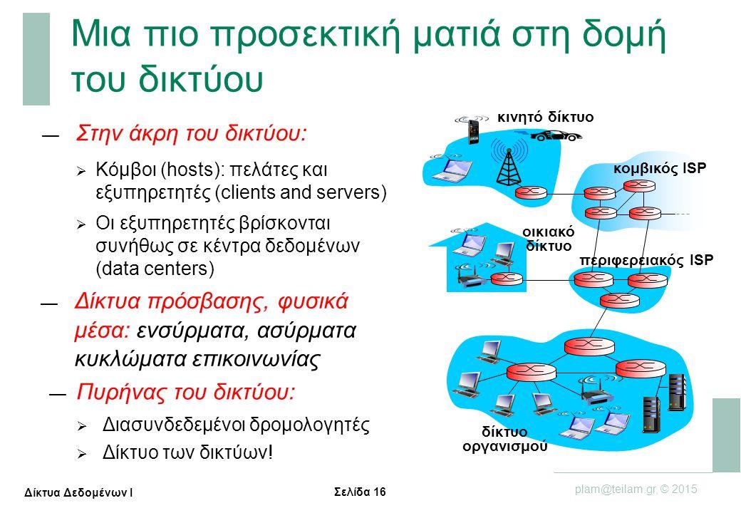 Σελίδα 16 plam@teilam.gr, © 2015 Δίκτυα Δεδομένων Ι Μια πιο προσεκτική ματιά στη δομή του δικτύου — Στην άκρη του δικτύου:  Κόμβοι (hosts): πελάτες κ