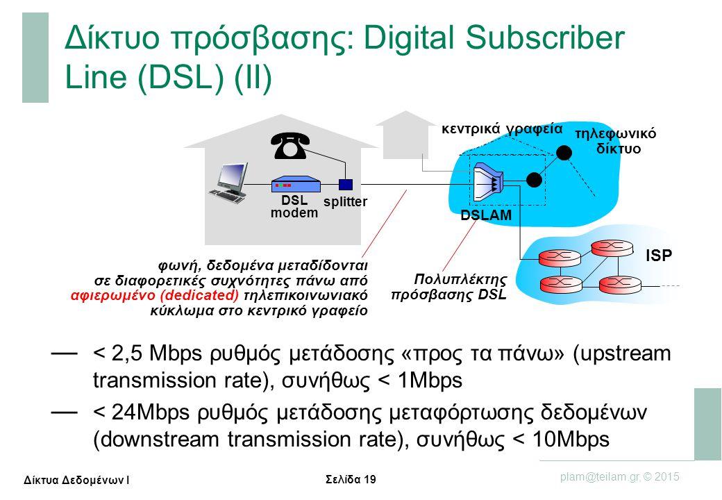 Σελίδα 19 plam@teilam.gr, © 2015 Δίκτυα Δεδομένων Ι Δίκτυο πρόσβασης: Digital Subscriber Line (DSL) (II) κεντρικά γραφεία ISP τηλεφωνικό δίκτυο DSLAM