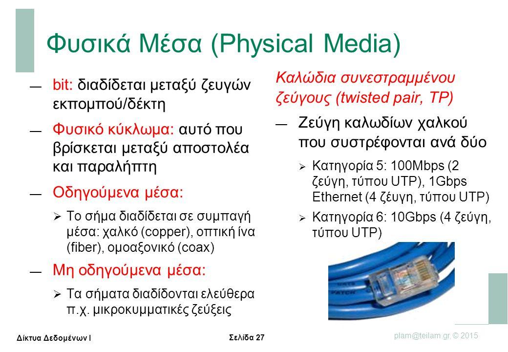 Σελίδα 27 plam@teilam.gr, © 2015 Δίκτυα Δεδομένων Ι Φυσικά Μέσα (Physical Media) — bit: διαδίδεται μεταξύ ζευγών εκπομπού/δέκτη — Φυσικό κύκλωμα: αυτό
