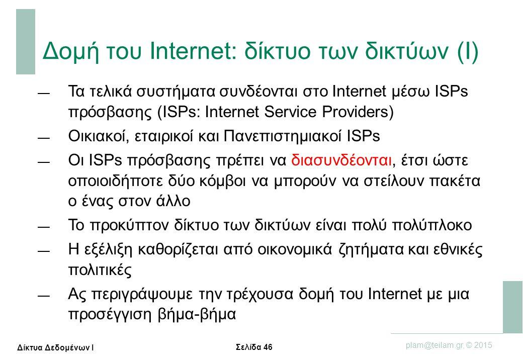 Σελίδα 46 plam@teilam.gr, © 2015 Δίκτυα Δεδομένων Ι — Τα τελικά συστήματα συνδέονται στο Internet μέσω ISPs πρόσβασης (ISPs: Internet Service Provider