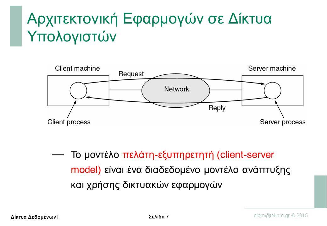 Σελίδα 8 plam@teilam.gr, © 2015 Δίκτυα Δεδομένων Ι Πως θα μπορούσε να περιγράψει κανείς το Internet; — εκατομμύρια συνδεδεμένες υπολογιστικές συσκευές:  κόμβοι = τελικά συστήματα  εκτελούν δικτυακές εφαρμογές — τηλεπικοινωνιακά κυκλώματα  οπτική ίνα, χαλκός, μικροκυμματικά, δορυφορικά  Ρυθμός μετάδοσης: εύρος ζώνης (bandwidth) — Δρομολογητές (routers) και μεταγωγείς (switches): προωθούν δεδομένα (σε μορφή πακέτων) ενσύρματα κυκλώματα ασύρματα κυκλώματα δρομολογητής (router) smartphone PC server wireless laptop κινητό δίκτυο κομβικός ISP περιφερειακός ISP οικιακό δίκτυο οργανισμού