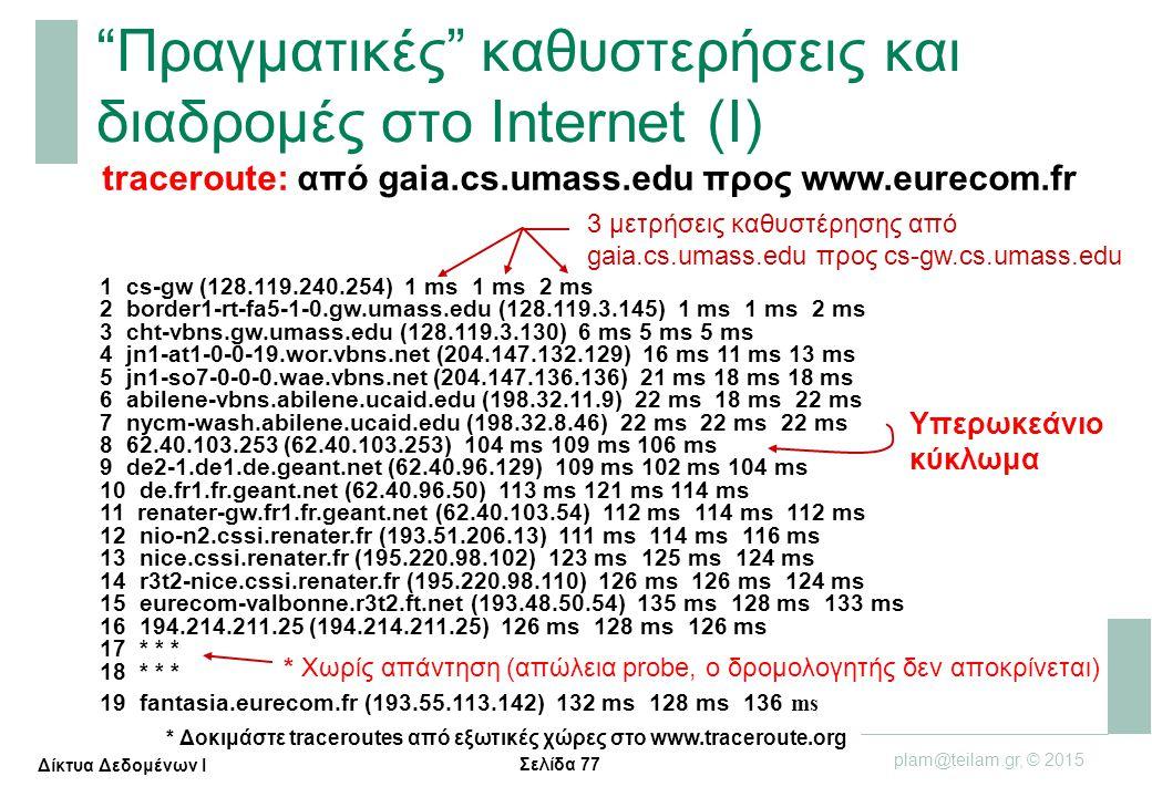 Σελίδα 77 plam@teilam.gr, © 2015 Δίκτυα Δεδομένων Ι 1 cs-gw (128.119.240.254) 1 ms 1 ms 2 ms 2 border1-rt-fa5-1-0.gw.umass.edu (128.119.3.145) 1 ms 1
