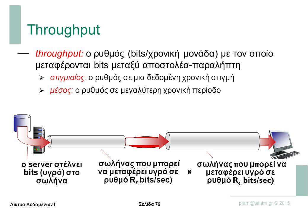 Σελίδα 79 plam@teilam.gr, © 2015 Δίκτυα Δεδομένων Ι Throughput — throughput: ο ρυθμός (bits/χρονική μονάδα) με τον οποίο μεταφέρονται bits μεταξύ αποσ