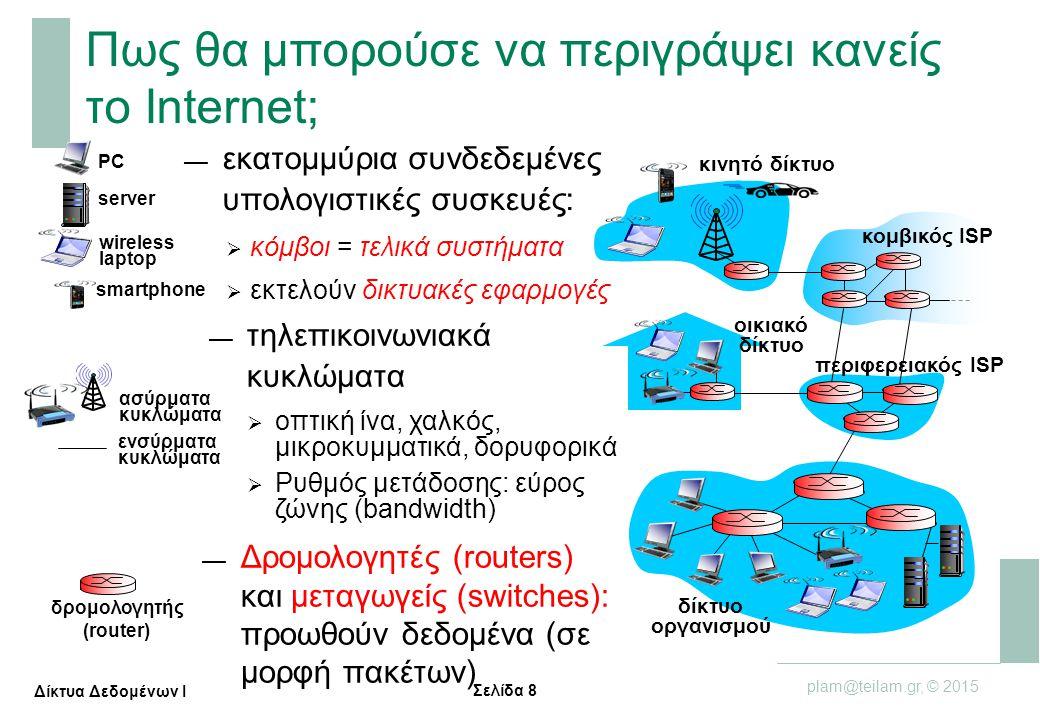 Σελίδα 19 plam@teilam.gr, © 2015 Δίκτυα Δεδομένων Ι Δίκτυο πρόσβασης: Digital Subscriber Line (DSL) (II) κεντρικά γραφεία ISP τηλεφωνικό δίκτυο DSLAM φωνή, δεδομένα μεταδίδονται σε διαφορετικές συχνότητες πάνω από αφιερωμένο (dedicated) τηλεπικοινωνιακό κύκλωμα στο κεντρικό γραφείο DSL modem splitter Πολυπλέκτης πρόσβασης DSL — < 2,5 Μbps ρυθμός μετάδοσης «προς τα πάνω» (upstream transmission rate), συνήθως < 1Mbps — < 24Mbps ρυθμός μετάδοσης μεταφόρτωσης δεδομένων (downstream transmission rate), συνήθως < 10Μbps