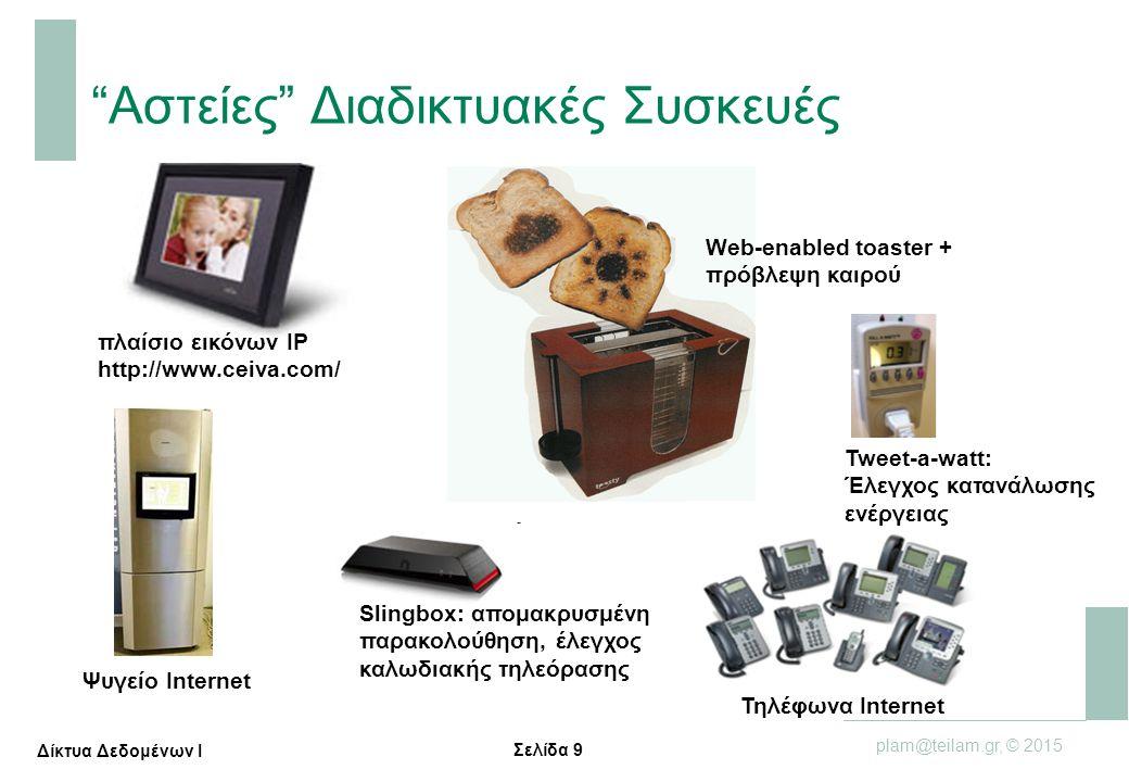 """Σελίδα 9 plam@teilam.gr, © 2015 Δίκτυα Δεδομένων Ι """"Αστείες"""" Διαδικτυακές Συσκευές πλαίσιο εικόνων IP http://www.ceiva.com/ Web-enabled toaster + πρόβ"""