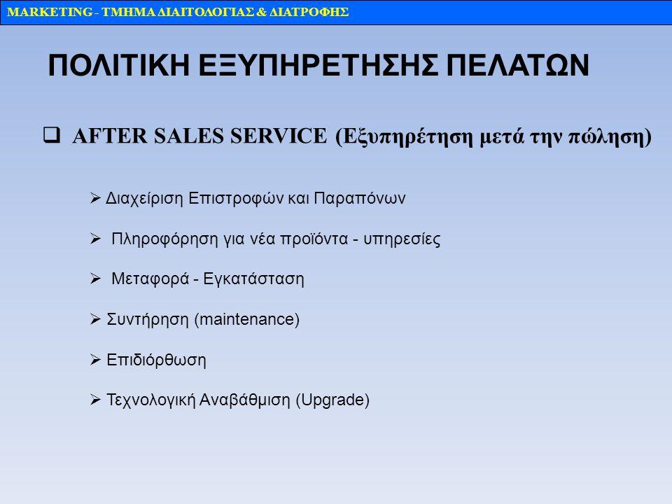MARKETING - TMHMA ΔΙΑΙΤΟΛΟΓΙΑΣ & ΔΙΑΤΡΟΦΗΣ  ΑFTER SALES SERVICE (Εξυπηρέτηση μετά την πώληση)  Διαχείριση Επιστροφών και Παραπόνων  Πληροφόρηση για νέα προϊόντα - υπηρεσίες  Mεταφορά - Eγκατάσταση  Συντήρηση (maintenance)  Επιδιόρθωση  Τεχνολογική Αναβάθμιση (Upgrade) ΠΟΛΙΤΙΚΗ ΕΞΥΠΗΡΕΤΗΣΗΣ ΠΕΛΑΤΩΝ