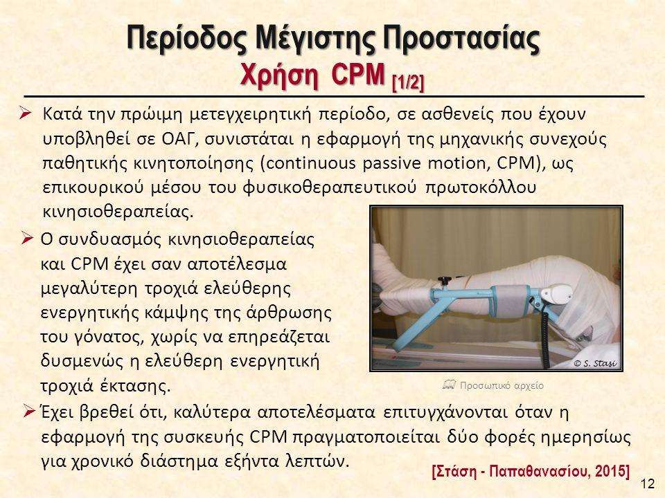 Περίοδος Μέγιστης Προστασίας Χρήση CPM [1/2]  Κατά την πρώιμη μετεγχειρητική περίοδο, σε ασθενείς που έχουν υποβληθεί σε ΟΑΓ, συνιστάται η εφαρμογή της μηχανικής συνεχούς παθητικής κινητοποίησης (continuous passive motion, CPM), ως επικουρικού μέσου του φυσικοθεραπευτικού πρωτοκόλλου κινησιοθεραπείας.