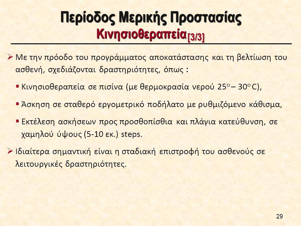 Περίοδος Μερικής Προστασίας Κινησιοθεραπεία [3/3]  Με την πρόοδο του προγράμματος αποκατάστασης και τη βελτίωση του ασθενή, σχεδιάζονται δραστηριότητες, όπως :  Κινησιοθεραπεία σε πισίνα (με θερμοκρασία νερού 25 o – 30 o C),  Άσκηση σε σταθερό εργομετρικό ποδήλατο με ρυθμιζόμενο κάθισμα,  Εκτέλεση ασκήσεων προς προσθοπίσθια και πλάγια κατεύθυνση, σε χαμηλού ύψους (5-10 εκ.) steps.