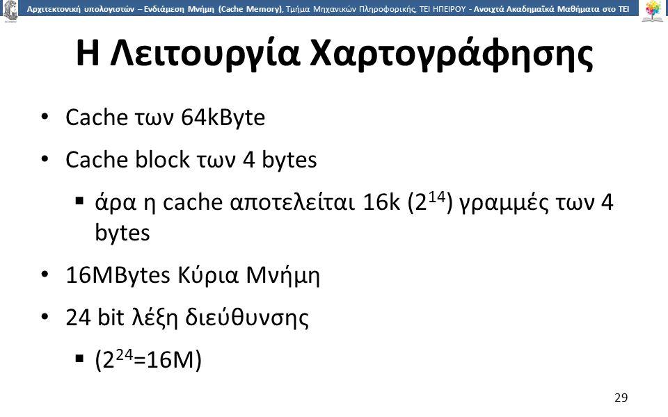 2929 Αρχιτεκτονική υπολογιστών – Ενδιάμεση Μνήμη (Cache Memory), Τμήμα Μηχανικών Πληροφορικής, ΤΕΙ ΗΠΕΙΡΟΥ - Ανοιχτά Ακαδημαϊκά Μαθήματα στο ΤΕΙ Ηπείρου Η Λειτουργία Χαρτογράφησης Cache των 64kByte Cache block των 4 bytes  άρα η cache αποτελείται 16k (2 14 ) γραμμές των 4 bytes 16MBytes Κύρια Μνήμη 24 bit λέξη διεύθυνσης  (2 24 =16M) 29