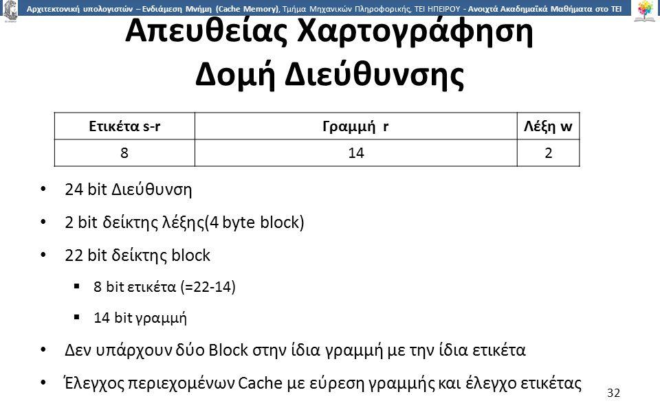 3232 Αρχιτεκτονική υπολογιστών – Ενδιάμεση Μνήμη (Cache Memory), Τμήμα Μηχανικών Πληροφορικής, ΤΕΙ ΗΠΕΙΡΟΥ - Ανοιχτά Ακαδημαϊκά Μαθήματα στο ΤΕΙ Ηπείρου Απευθείας Χαρτογράφηση Δομή Διεύθυνσης 24 bit Διεύθυνση 2 bit δείκτης λέξης(4 byte block) 22 bit δείκτης block  8 bit ετικέτα (=22-14)  14 bit γραμμή Δεν υπάρχουν δύο Block στην ίδια γραμμή με την ίδια ετικέτα Έλεγχος περιεχομένων Cache με εύρεση γραμμής και έλεγχο ετικέτας 32 Ετικέτα s-rΓραμμή rΛέξη w 8142