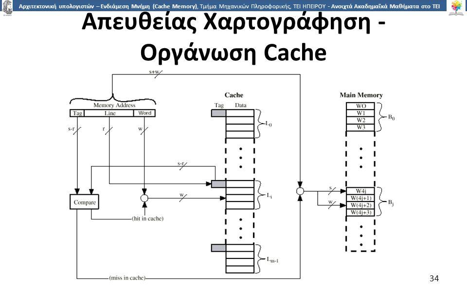 3434 Αρχιτεκτονική υπολογιστών – Ενδιάμεση Μνήμη (Cache Memory), Τμήμα Μηχανικών Πληροφορικής, ΤΕΙ ΗΠΕΙΡΟΥ - Ανοιχτά Ακαδημαϊκά Μαθήματα στο ΤΕΙ Ηπείρου Απευθείας Χαρτογράφηση - Οργάνωση Cache 34