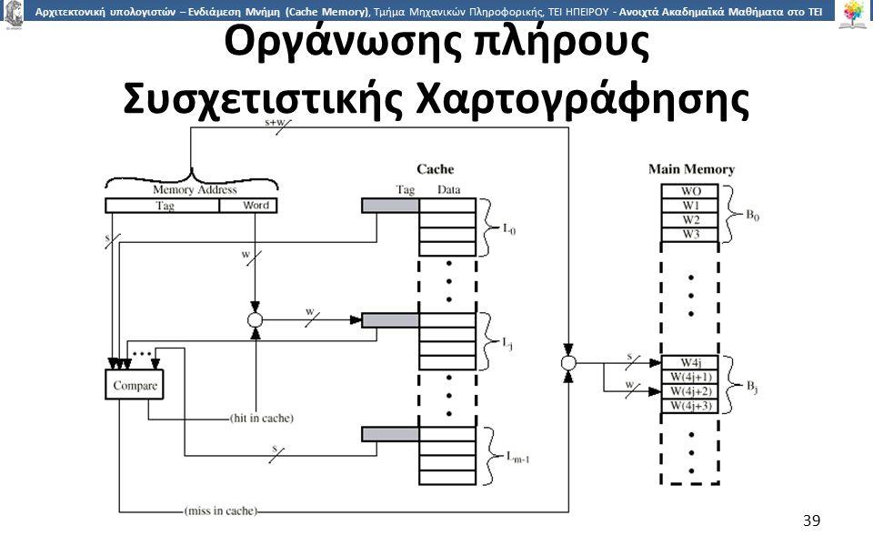 3939 Αρχιτεκτονική υπολογιστών – Ενδιάμεση Μνήμη (Cache Memory), Τμήμα Μηχανικών Πληροφορικής, ΤΕΙ ΗΠΕΙΡΟΥ - Ανοιχτά Ακαδημαϊκά Μαθήματα στο ΤΕΙ Ηπείρου 39 Οργάνωσης πλήρους Συσχετιστικής Χαρτογράφησης