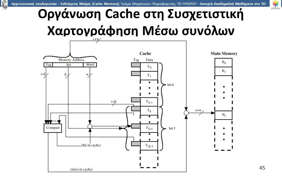 4545 Αρχιτεκτονική υπολογιστών – Ενδιάμεση Μνήμη (Cache Memory), Τμήμα Μηχανικών Πληροφορικής, ΤΕΙ ΗΠΕΙΡΟΥ - Ανοιχτά Ακαδημαϊκά Μαθήματα στο ΤΕΙ Ηπείρου Οργάνωση Cache στη Συσχετιστική Χαρτογράφηση Μέσω συνόλων 45