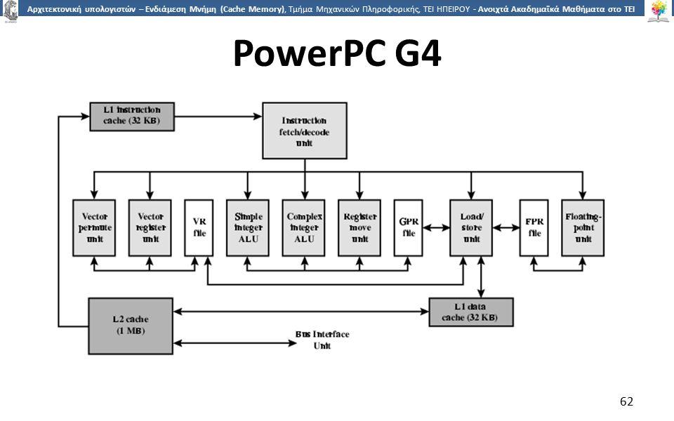 6262 Αρχιτεκτονική υπολογιστών – Ενδιάμεση Μνήμη (Cache Memory), Τμήμα Μηχανικών Πληροφορικής, ΤΕΙ ΗΠΕΙΡΟΥ - Ανοιχτά Ακαδημαϊκά Μαθήματα στο ΤΕΙ Ηπείρου PowerPC G4 62