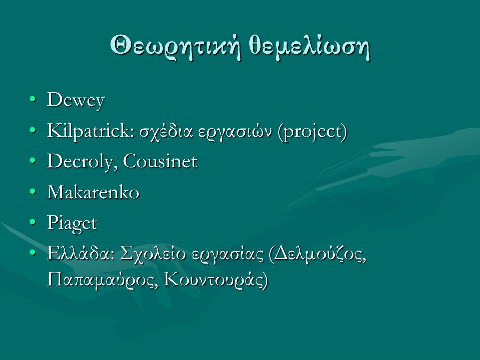 Θεωρητική θεμελίωση DeweyDewey Kilpatrick: σχέδια εργασιών (project)Kilpatrick: σχέδια εργασιών (project) Decroly, CousinetDecroly, Cousinet MakarenkoMakarenko PiagetPiaget Ελλάδα: Σχολείο εργασίας (Δελμούζος, Παπαμαύρος, Κουντουράς)Ελλάδα: Σχολείο εργασίας (Δελμούζος, Παπαμαύρος, Κουντουράς)