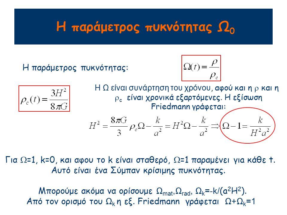 Η παράμετρος επιβράδυνσης q 0 Ανάπτυγμα Taylor του παράγοντα κλίμακας a(t): Η παράμετρος επιβράδυνσης ποσοτικοποιεί την επιβράδυνση της διαστολής του Σύμπαντος.
