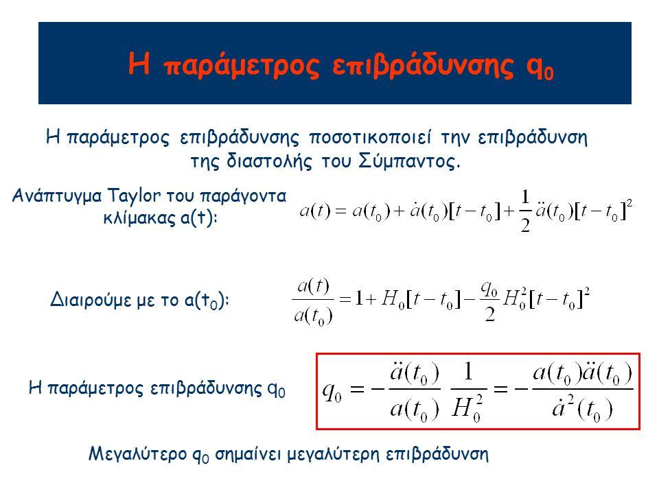Παράμετρος Επιβράδυνσης Χρησιμοποιώντας την εξίσωση επιτάχυνσης και την κρίσιμη πυκνότητα παίρνουμε: Απλούστερη περίπτωση: Σύμπαν χωρίς πίεση, p=0 ΕΚΠΛΗΞΗ: Παρατηρήσεις μακρινών υπερκαινοφανών αστέρων (supernovae) δείχνουν ότι q 0 <0 Η διαστολή επιταχύνεται !!.