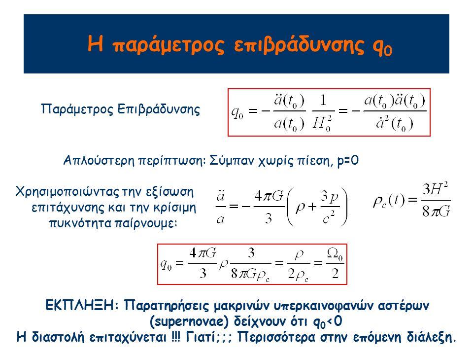 Σύνοψη Εξέλιξη του Σύμπαντος με καμπυλότητα k<0 k=0 k>0 Log t Log a Παρατηρήσιμες παράμετροι του Σύμπαντος: Κρίσιμη πυκνότητα Παράμετρος πυκνότητας: Παράμετρος επιβράδυνσης: Για Σύμπαν όπου κυριαρχεί η Ύλη: