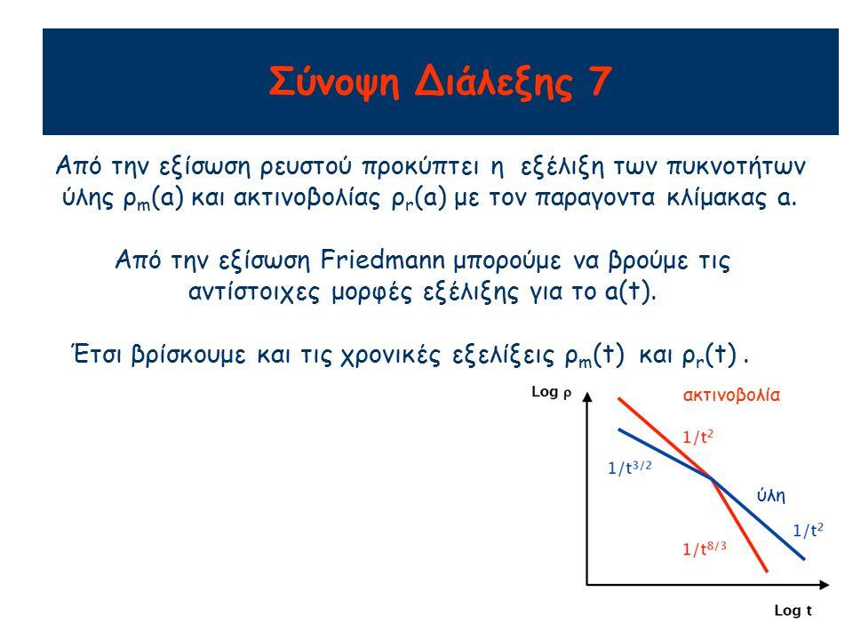 Αριθμητική πυκνότητα σωματίων Ο αριθμός σωματίων διατηρείται αν οι αλληλεπιδράσεις τους είναι αμελητέες ή αν βρίσκονται σε θερμοδυναμική ισορροπία: Ρυθμός παραγωγής σωματίων=ρυθμός καταστροφής σωματίων πχ εξαυλωση ηλεκτρονίων-ποζιτρονίων  φωτόνια φωτόνια  δημιουργία ζευγών ηλεκτρονίων-ποζιτρονίων Αν ο αριθμός σωματίων διατηρείται, η αριθμητική πυκνότητα τους μειώνεται σαν n  1/a 3 Για μη-σχετικιστική ύλη, η ενέργεια κάθε σωματίου E μένει σταθερή  c 2 =n x E  1/a 3 Για ακτινοβολία (λ  α), η ενέργεια κάθε σωματίου μειώνεται σαν E  1/a και  c 2 =n x E  1/a 4