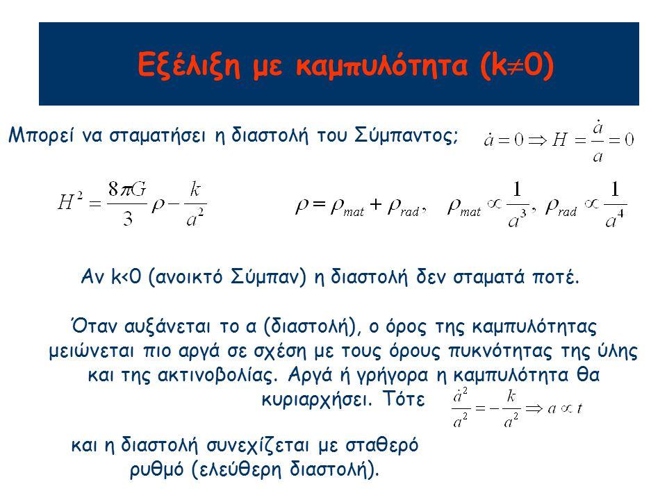 Αν k>0 (κλειστό Σύμπαν) η διαστολή θα σταματήσει και το Σύμπαν θα καταρρεύσει.
