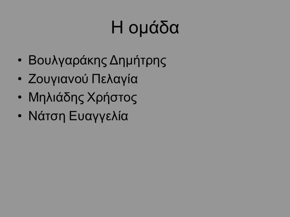 Η ομάδα Βουλγαράκης Δημήτρης Ζουγιανού Πελαγία Μηλιάδης Χρήστος Νάτση Ευαγγελία
