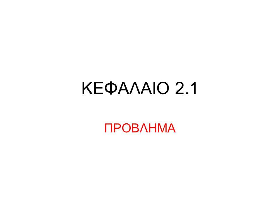 ΚΕΦΑΛΑΙΟ 2.1 ΠΡΟΒΛΗΜΑ
