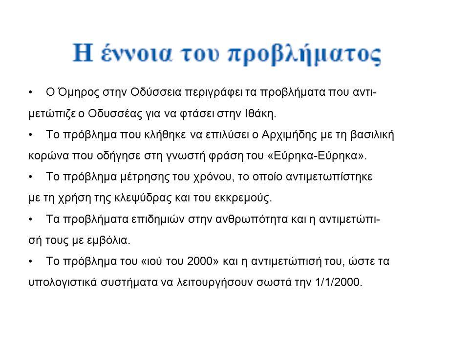 Ο Όμηρος στην Οδύσσεια περιγράφει τα προβλήματα που αντι- μετώπιζε ο Οδυσσέας για να φτάσει στην Ιθάκη.