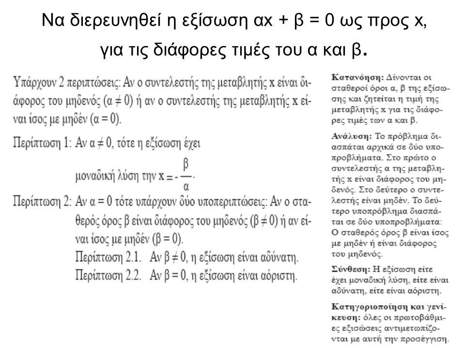 Να διερευνηθεί η εξίσωση αx + β = 0 ως προς x, για τις διάφορες τιμές του α και β.